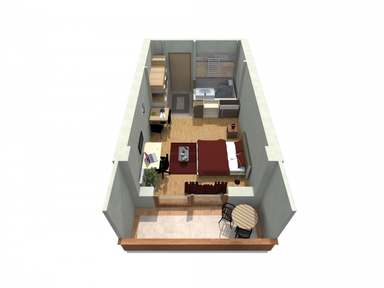 Studio Apartment   3D Plan